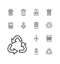 13 recycle icons vector image