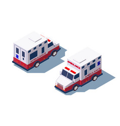3d isometric ambulance medical car for first aid vector image