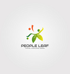 Abstract people logo template with leaf logo vector
