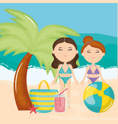 beautiful women couple with swimsuit on beach vector image