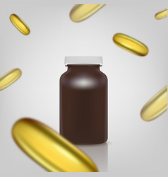 blank brown pills container without label with vector image