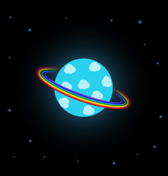 blue planet with rainbow rings vector image
