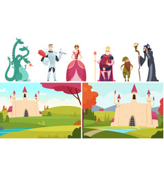 book heroes fairy tale stories castle landscapes vector image