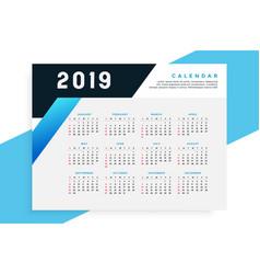 business style 2019 calendar template vector image