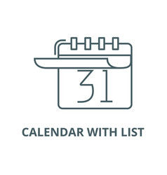 calendar with list line icon calendar vector image