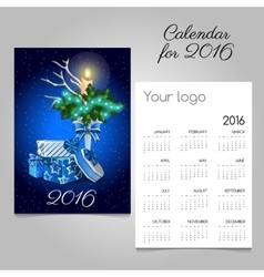 Calendar with vintage image of Christmas symbols vector