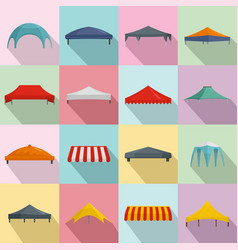 Canopy shed overhang icons set flat style vector