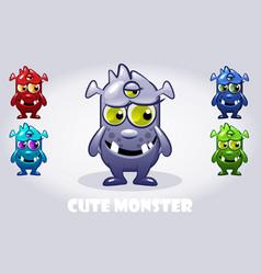 Cartoon baby three-eyed monster vector