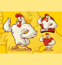 chicken mascot for food business with optional vector image