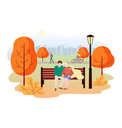 city autumn park landscape people walk in the vector image