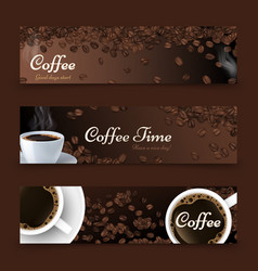 Coffee background realistic top view vector