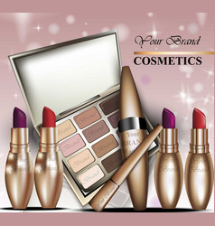 colorful cosmetics realistick lipstick and vector image