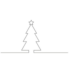 continuous line drawing of christmas tree black vector image