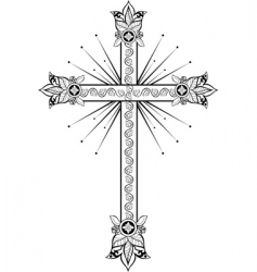 cross with light doodle g vector image