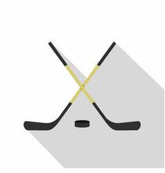 Crossed hockey sticks icon flat style vector