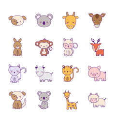 Cute animals cartoons line and fill style vector