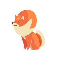Cute sitting pomeranian spitz adorable pet dog vector