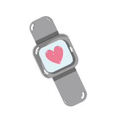 Cute smartwatch technology with fitness app vector