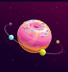 Donut planet fantasy space vector