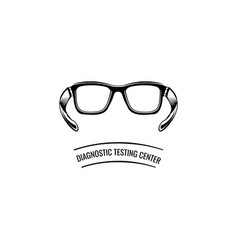 Eyeglasses icon diagnostic testing center text vector