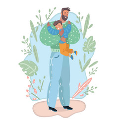 father and son hugging vector image