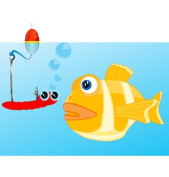 Fish and bait on hook vector image