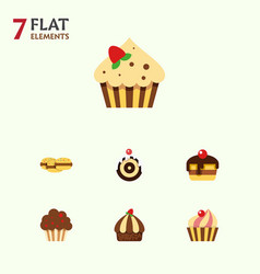 Flat cake set of sweetmeat cupcake dessert and vector