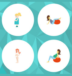 Flat icon pregnancy set of pregnant woman sport vector