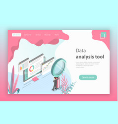Flat isometric concept of website data vector