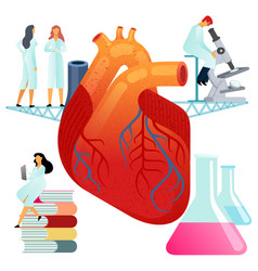 Flat large human heart on a vector