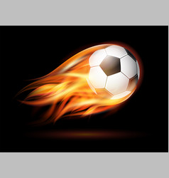 flying football or soccer ball on fire vector image
