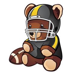 football teddy bear cartoon character vector image