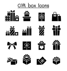 Gift box icon set in flat style vector