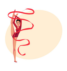 Girl standing in vertical leg split rhythmic vector