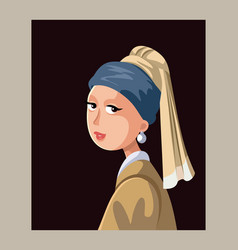 Girl with a pearl earring editorial vector