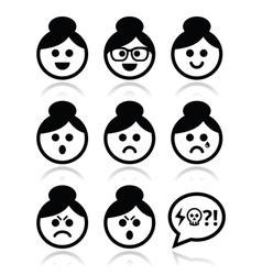 Grandma face woman with bun hair icons set vector