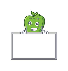 Grinning green apple character cartoon with board vector