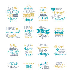 hand-drawn lettering quotes about sea ocean vector image