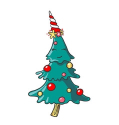 hand drawn smiling cartoon christmas tree vector image