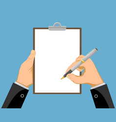 hands holding a clipboard with a blank paper vector image