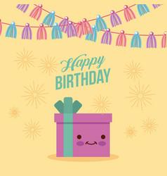 Happy birthday kawaii gifts vector