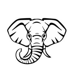 Head of an elephant black lines vector