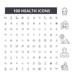 health editable line icons 100 set vector image