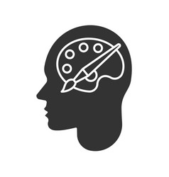 Human head with palette and brush glyph icon vector