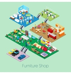 Isometric Furniture Shop Inside with Kitchen vector image