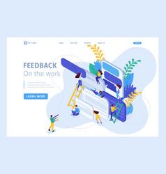 Isometric landing page feedback vector
