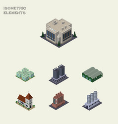 Isometric urban set of warehouse industry chapel vector