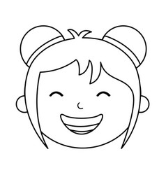 Japanese little girl icon vector