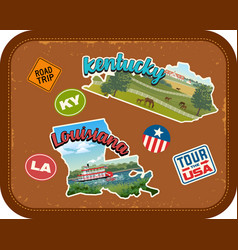 Kentucky louisiana travel stickers vector