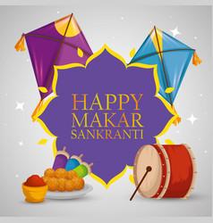 Makar sankranti emblem with food and kites vector